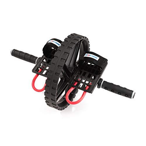 Sport-Thieme Bauchtrainer Roller Power AB Wheel Pro | Bauchmuskeltrainer/AB Roller mit Handgriffen u. Pedalen | Bis 100 kg belastbar | Gummi, Metall, Polypropylen | 30,5 x 50 cm | Schwarz-Rot
