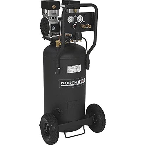 NorthStar Portable Electric Air Compressor - 2 HP, 20-Gallon Vertical Tank, Super-Quiet Operation, Oil-Free Pump, 5.4 CFM @ 90 PSI