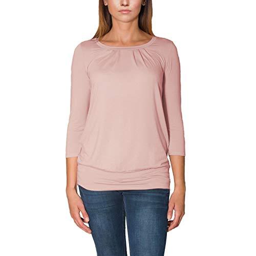 Alkato Damen Viskose Shirt 3/4 Arm Longshirt Top, Farbe: Altrosa, Größe: XL