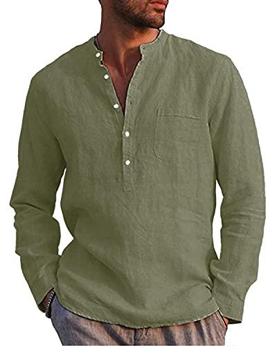 LVCBL Camisa de manga larga para hombre, camisa de verano para el tiempo libre, camisa de lino, corte regular, verde militar, XXL