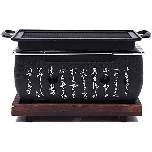 BUTTERFLYSILK Japanischer Stil Grillrost Tragbar Holzkohlegrill Mit Massivholzschale BBQ Grill zum Innen oder außen Grillen im Garten beim Camping oder Festival schwarz
