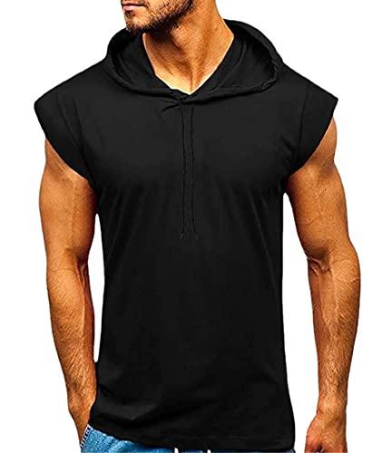 Camisetas Sin Mangas Hombre Moderno Urbano Ajuste Regular Sin Mangas Hombre Shirt Verano Clásico Color Sólido Lazada Hombre Tank Top Gym Aire Libre Entrenamiento Sudadera Capucha C-Black L