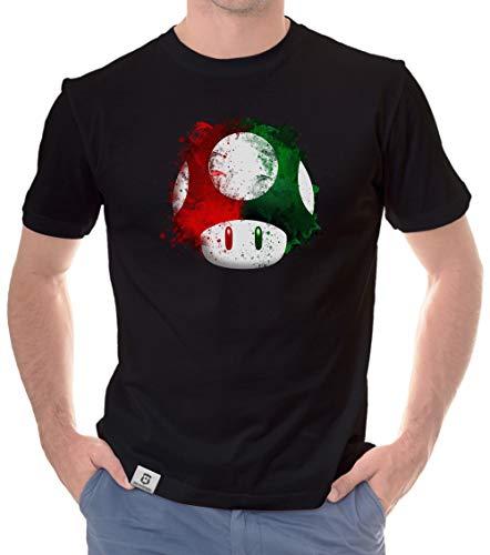 shirtdepartment - Herren T-Shirt - Super Mario - Pilz schwarz-rot XL