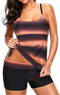 BEESCLOVER NWT Women Two Pieces Swimwear Tankini Sets with Shorts Swimsuits Stripe Beach Wear Plus Size Big Women Bathing Suit Orange M