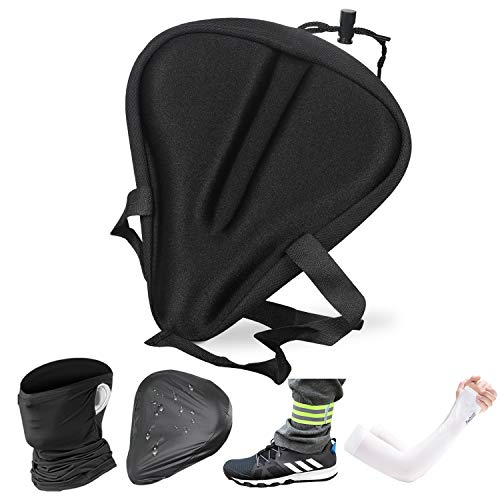 TOLOBS Gel Bike Seat Cover, Extra Soft Gel Bike Seat Cushion Cover with Memory Foam for Bicycle Seat Saddle with Water & Dust Resistant Cover, Face Mask, Arm Sleeves, Reflective Band