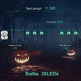 Halloween Grüne Augapfel-Lichterkette mit Fernbedienung, 30 LEDs Batteriebetrieben Wasserdicht Augapfel-Lichter mit 8 Beleuchtungsmodi für Halloween Party Indoor Outdoor Garten Yard Dekorationen - 3