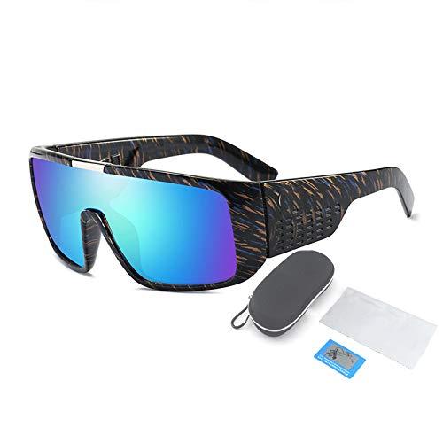 Gafas De Sol Polarizadas, Montura De Plástico Grande para Gafas Cuadradas Y Planas, Adecuadas para Hombres Y Mujeres Que Pescan, Montan Y Conducen,Azul