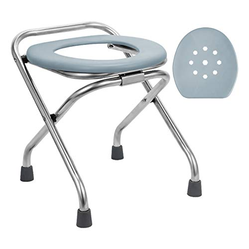 BLIKA 16.5' High Stainless Steel Folding Commode Portable Toilet Seat, Commode Chair with Lid, Camp Toilet Seat Perfect for Camping, Hiking, Trips, Construction Sites