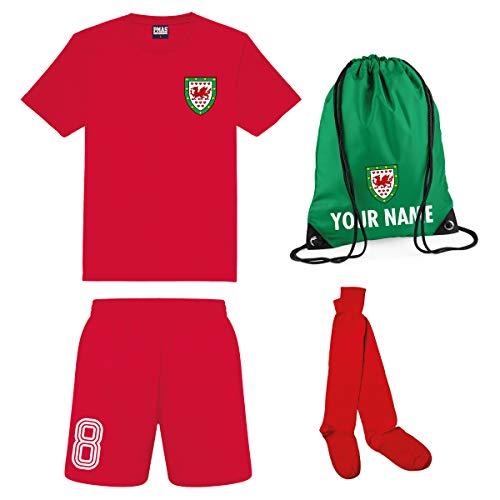 Print Me A Shirt Conjunto de Fútbol Selección de Gales Personalizable para Niños, Camiseta, Pantalones Cortos, Calcetines y Bolsa Personalizable, Kit de fútbol de Gales