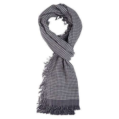 ROYALZ Schal für Herren Halstuch kariert oder gestreift 100% Baumwolle Herrenschal Tuch Männer-Schals Streifen Karo leicht weich - ganzjährig, mehrfarbig, Farbe:Dunkelgrau/Weiß