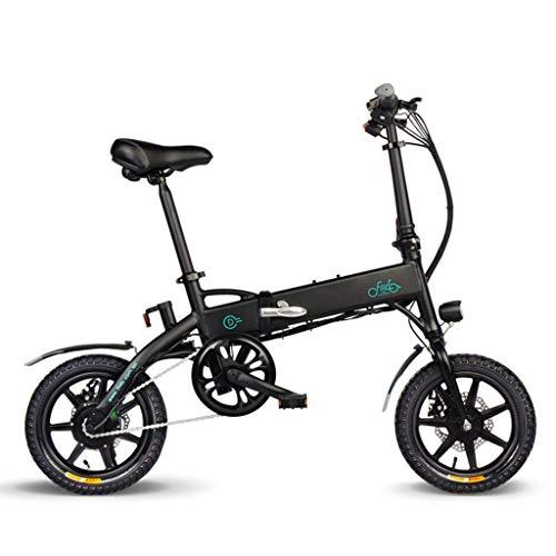XYDDC Bicicleta eléctrica Plegable Portable del vehículo eléctrico de 14 Pulgadas de neumáticos de absorción de choques de diseño Pueden Viajar 40 Kilómetros,Negro