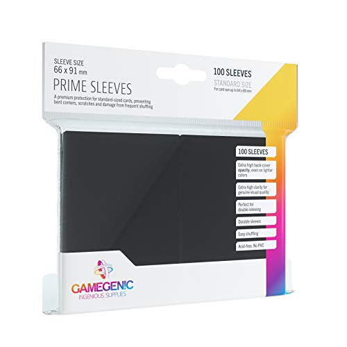 Asmodee - 100 Bustine Protettive Gamegenic per Carte, Giochi di Società, Prime Sleeves Black Pack, Colore Nero, Lucide