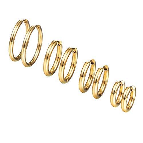 Conjunto de Pendientes de Aro para Mujer de Acero Inoxidable Chapado en Oro Regalo para Mujer