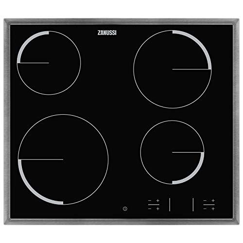 Zanussi ZEV6340XBA Automatische kookplaat, verwarmd met straal, 60 cm, roestvrij stalen frame, 4 kookzones, kinderbeveiliging