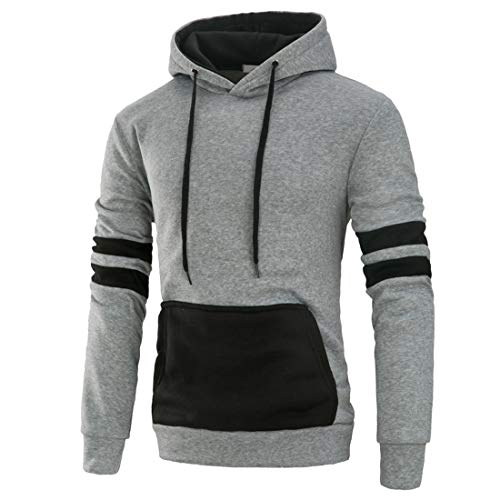 Sweatshirt Herren Hoodie Herren Casual Sporty Style Mode Kordelzug Slim Fit Herren Sweatshirt Herbst Neues Kangaroo Pocket Cotton Blend Langarm Herren Hoodie B-Gray XXL
