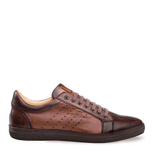 Mezlan Rimini - Mens Luxury Artisan Dress-Casual Sneaker - Rich European Hand-Burnished Calfskin - Handcrafted in Spain - Medium Width (9.5, Cognac)