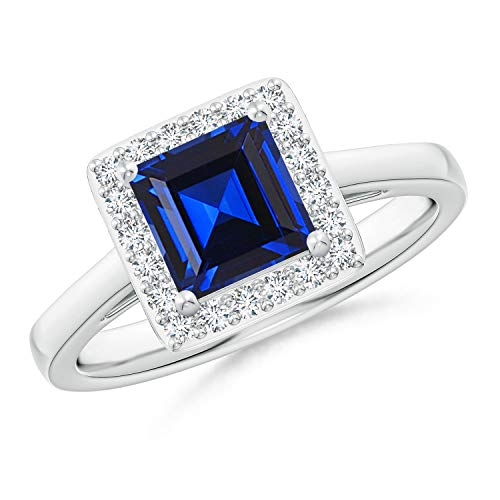 September Birthstone-1.4ctw Square-Cut Lab Created Blue Sapphire and Lab Grown Diamond Halo Ring in Silver Ring Size 8