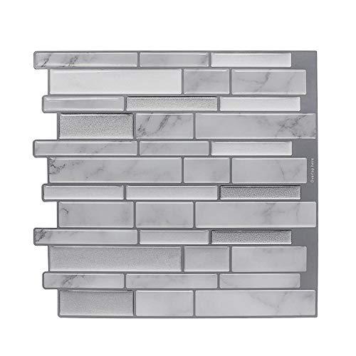 nanly Peel and Stick Tile Backsplash para cocina/baño, pegar en azulejos Splashback, pegatinas autoadhesivas para azulejos de 10.6 x 10 pulgadas (4 hojas) (rayas grises)