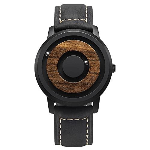EUTOUR Reloj de Madera para Hombre y Mujer Reloj Magnético Analógico de Cuarzo Suizo Relojes de Pulsera Originales con Correa en Cuero en Negro