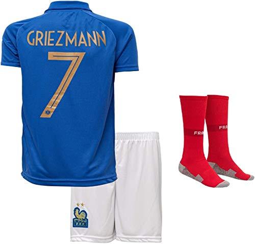 BAOZAI Frankreich Griezmann #7 2019/2020 Heim Trikot und Shorts mit Socken Kinder und Jugend Größe? Spot Sale (164-11/12 Jahre)