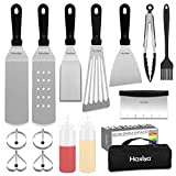 HAXIYA Flat Top Griddle Accessories Kit for Blackstone and Camp Chef Griddle - 15 Pieces Stainless Steel Griddle Tools Set with Carry Bag, Spatula, Scraper, Egg Rings for Teppanyaki & Gas Grill