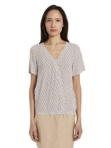 TOM TAILOR Damen Blusen, Shirts & Hemden Gemusterte Kurzarm-Bluse in Wickeloptik White Geometric Design,42