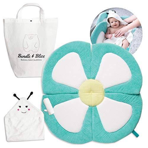 Organic Bamboo Baby Bath Flower Sink Insert Giftable 4PC Set | Baby Sink Bath Cushion, Bee Towel & Washcloth | Flower Baby Bath Sink Insert Infant Tub | Blooming Bath Lotus Baby Bather for Newborns