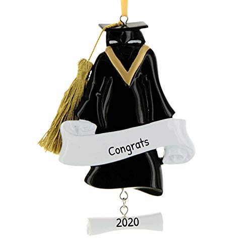 Personalized Grad Gown Christmas Ornament for Tree 2018 - Dress Hat Diploma with Real Tassel - Under-Graduation PhD Masters Degree High End New Girl Boy Congratulation - Free Customization by Elves