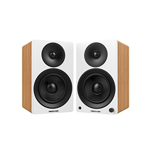 Fluance Ai40W Powered Two-Way 5' 2.0 Bookshelf Speakers with 70W Class D Amplifier for Turntable, PC, HDTV & Bluetooth aptX Wireless Music Streaming (Lucky Bamboo)