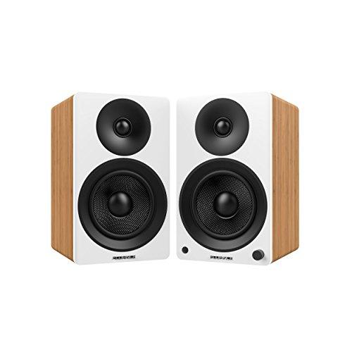 Fluance Ai40WW Powered Two-Way 5' 2.0 Bookshelf Speakers with 70W Class D Amplifier for Turntable, PC, HDTV & Bluetooth aptX Wireless Music Streaming (White Walnut)