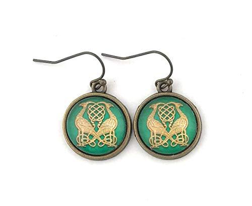 Celtic Bird Earrings - Green and Gold Celtic Knot - Antique Brass - Handmade