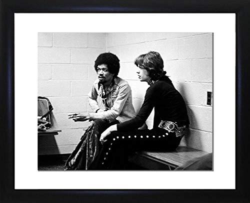 Bild Favourites Jimi Hendrix mit Mick Jagger gerahmtes Foto