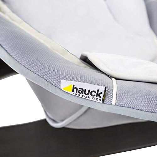 Hauck Alpha Bouncer - 2 en 1 para recién nacido, hamaca de tejido suave, combinable con trona de madera evolutiva Alpha+ y Beta+ de HAUCK, incluido reductor, mecedora para bebes, Strech Grey (gris)