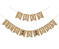 Ahoy It's A Boy Banner. Cute banner for a boy baby shower.