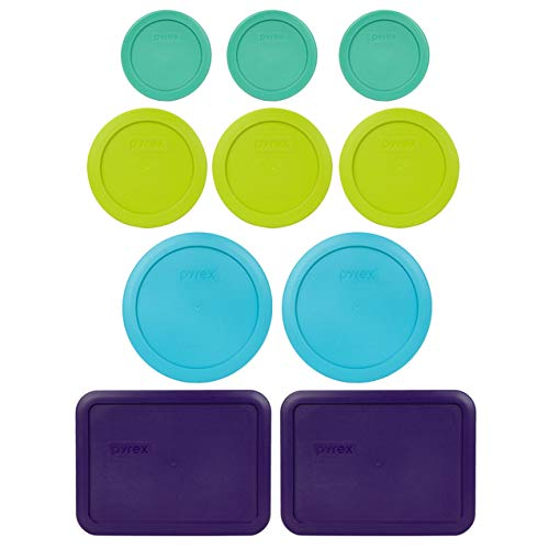 Pyrex (3) 7202-PC 1 Cup Green (3) 7200-PC 2 Cup Green Edamame (2) 7201-PC 4 Cup Surf Blue (2) 7210-PC 3 Cup Plum Purple Replacement Food Storage Lids
