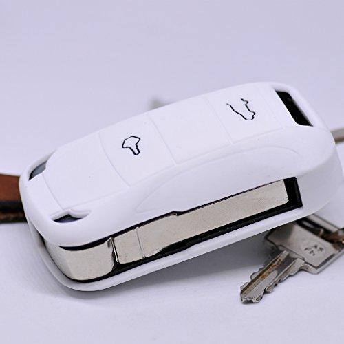 Soft Case Schutz Hülle Auto Schlüssel für Porsche 955 Cayenne Klappschlüssel Remote/Farbe: Weiß