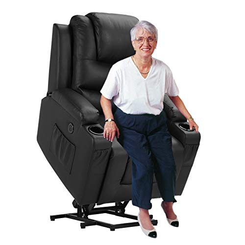Lift Chairs Catnapper, Power Lift Recliners for Elderly, Electric Lift Chair with Massage and Heat, PU Leather Recliner Chair for Living Room (Black)