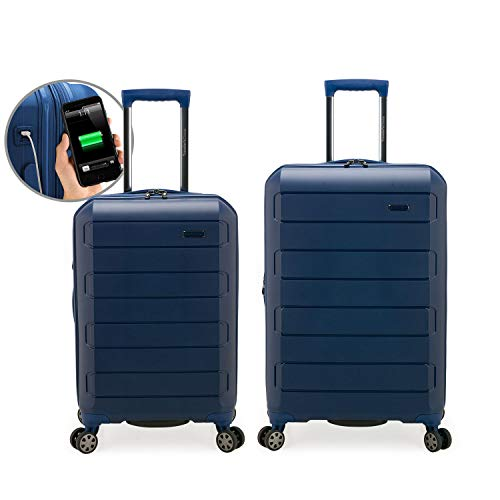 Traveler's Choice Pagosa Indestructible Hardshell Expandable Spinner Luggage, Navy, 2-Piece Set (22/26)