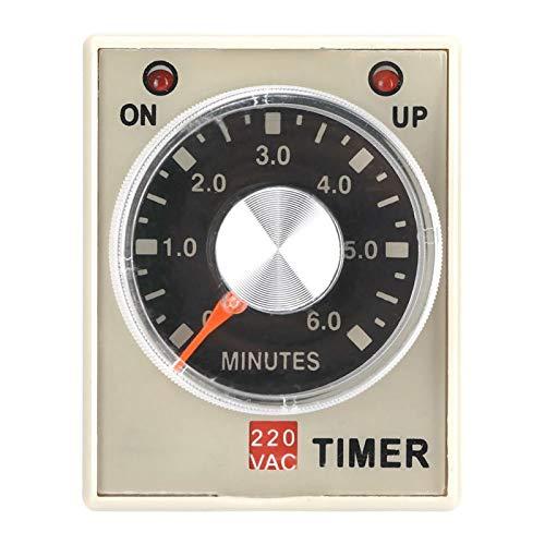 Relé temporizador de retardo, relé de tiempo AH3-3, 220VAC 6/10/30/60 minutos Temporizador de retardo de encendido(6M)