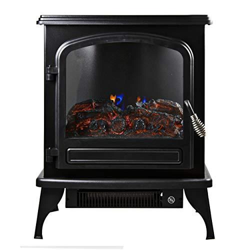 Comfort Zone CZFP6 2 Heat Setting 1500 Watt Stove Fireplace Heater, Black black electric Fireplace