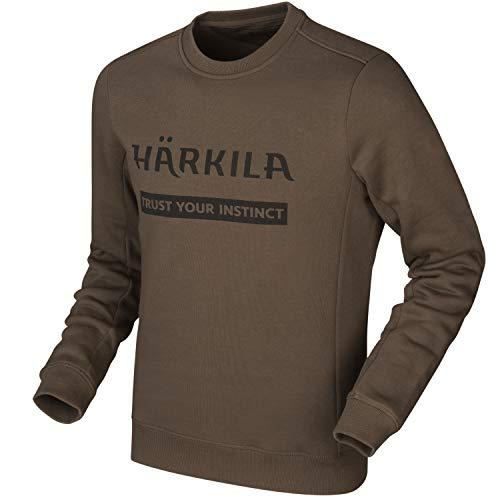 Härkila Bluza w kolorze zielonym i brązowym dla mężczyzn – sweter z nadrukiem logo z długim rękawem z bawełny – gruby sweter outdoorowy dla myśliwych i zajęć rekreacyjnych, brązowy, XL
