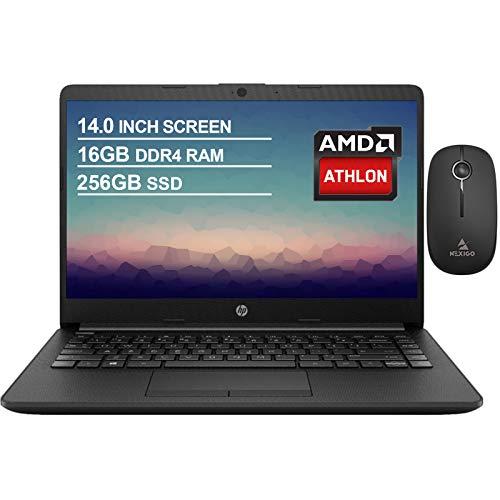 2020 Newest HP 14 Inch Premium Laptop, AMD Athlon Silver 3050U up to 3.2 GHz, 16GB DDR4 RAM, 256GB SSD, WiFi, HDMI, Windows 10 in S, Jet Black + NexiGo Wireless Mouse Bundle