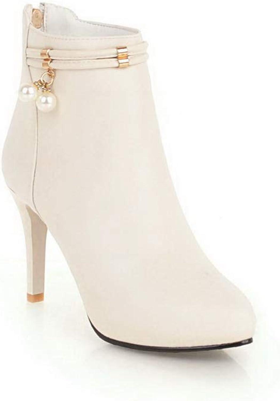 AN Womens Spikes Stilettos Pointed-Toe Urethane Boots DKU02316