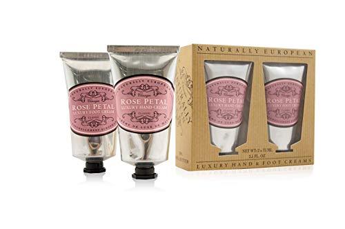 Naturally European Rose Petal Luxury Hand And Foot Cream Gift Set 2 x 75ml | Hand Cream | Cuticle Cream | Intensive Foot Cream | Foot Repair Cream