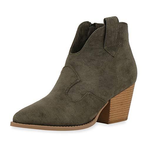SCARPE VITA Damen Stiefeletten Cowboy Boots Ankle Booties Wildleder-Optik Western Schuhe Spitze Cowboystiefel 187225 Dunkelgrün 39