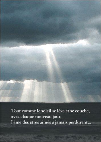 5-delige set: Tout Comme le Soleil se lève et se bank. Franse rouwkaart met wolken • Bijleidskaart condoleskaart rouw bijjurk wenskaart bij overlijden voor achtergebleven