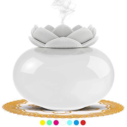 SIXKIWI Ceramic Humidifiers for Bedroom, Oil Diffuser for Office, Cute Lotus Personal Cool Mist Humidifier, USB Small Auto Shut-Off with 7 Colors LED Light(White)