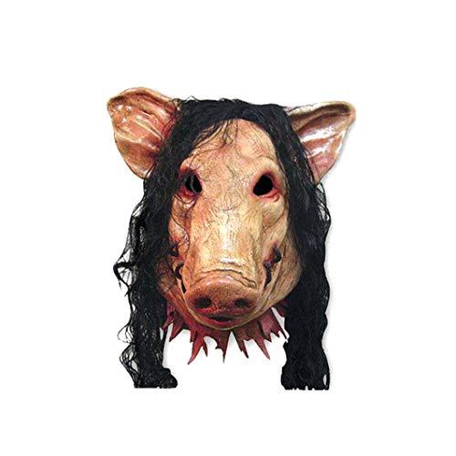 linjunddd Halloween-Maske Schweinekopf Geformt Maske Mit Haar Tier Horrible Cosplay Masquerade Kostüm Latex-Maske