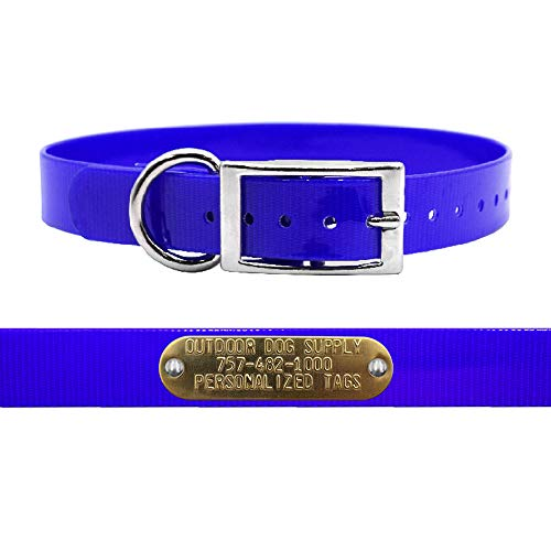 """Outdoor Dog Supply 1"""" Wide Solid D Ring Dog Collar Strap with Custom Brass Name Plate (19"""" Long, Dark Blue)"""
