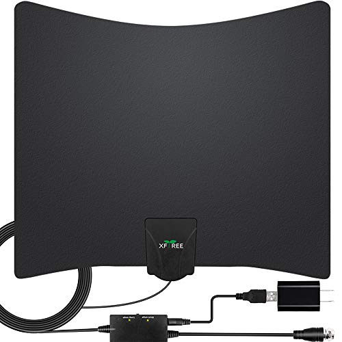 TV Antenna - Amplified HD Digital Indoor TV Antenna 250 Miles Long Range - Support 4K 1080p Fire tv Stick and All Tvs with Smart Indoor Amplifier Signal Booster for VHF UHF Channels - 17ft Coax Cable